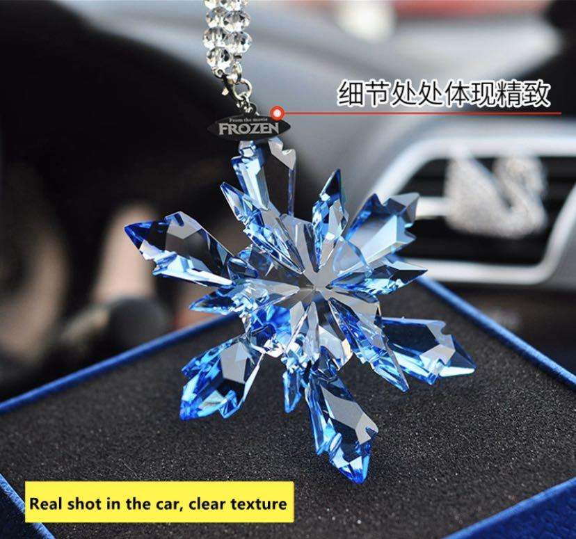 ❄️ Disney Frozen Christmas Crystal Snowflake Decoration Car Rearview Mirror Beauty Charm Pendant Home Wedding Decor Valentine Gift