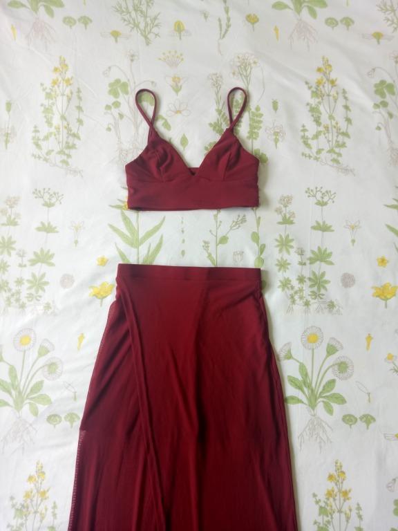 Flirty BNWT Showpo「Body Language」two piece set in wine red 🍷