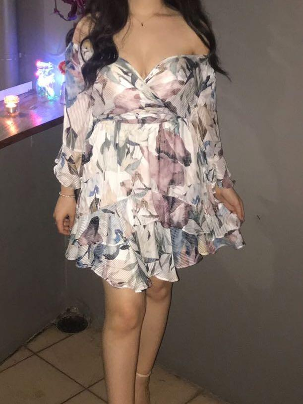 Fresh soul floral off the shoulder wrap dress with bell sleeves