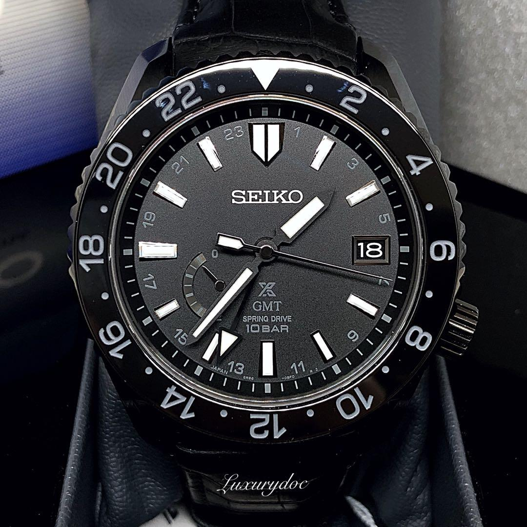 FS.BNIB SEIKO PROSPEX LX GMT SPRING DRIVE BLACK LEATHER 44.8MM WATCH SNR035 SNR035J SNR035J1
