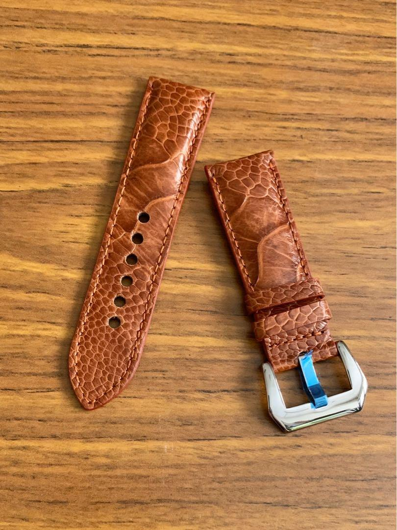 24mm/22mm Authentic Whiskey 🥃 Brown Ostrich Leg Watch Strap (only one piece left, once sold never coming again 😊) (Standard length: L-120mm, S-75mm)