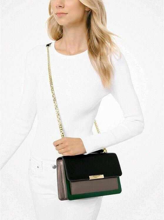 Michael Kors Jade TriColor Leather Crossbody (Moss)