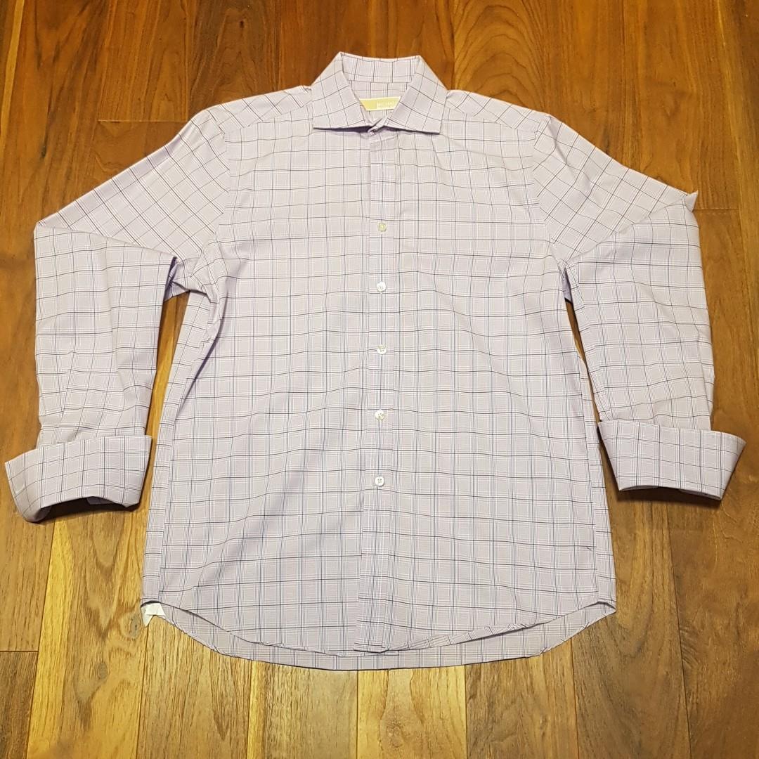 Michael Kors Men's French Cuff Slim Fit Purple Dress Shirt - Size 15.5