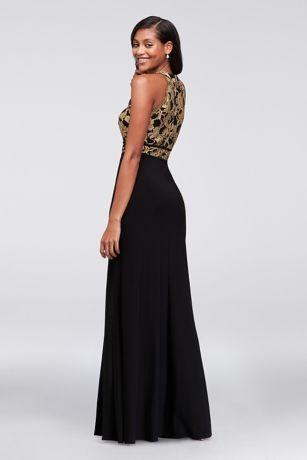 Morgan and Co. Glitter Lace and Jersey High Neck-A-Line Gown