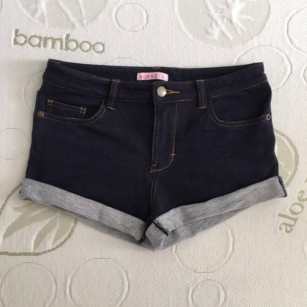 Supre size 6 dark blue mid rise cuffed jegging shorts