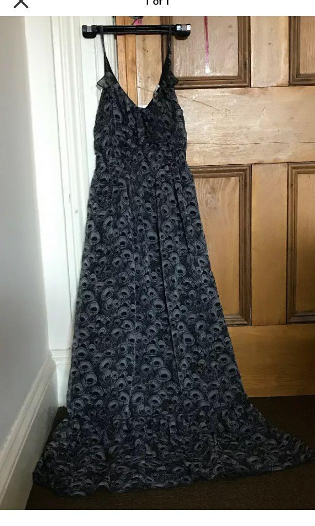 Tempt size 10 Grey And Black Dress. Spaghetti Straps. Long. Maxi Dress
