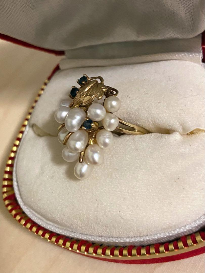 Vintage Women 14K Yellow Gold Pearl and Sapphire Ring