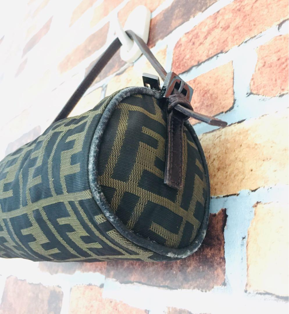 🔥Zucca Pattern Mini Barrel Hand Accessory Pouch Brown Fabric Canvas Leather Satchel