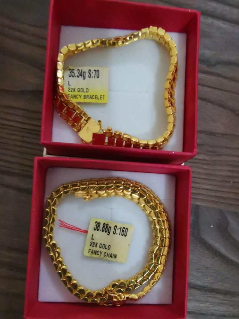 Both r sold)Authentic 916 Gold 22k Bracelet 35.34g Length 7inch and Necklace 38.88g Length 17inch (Both Total grams are 74.22g X $67per grams=$$$$.$$ ) ( meet up location any Prawnshop goldshop at AMK Central to verify