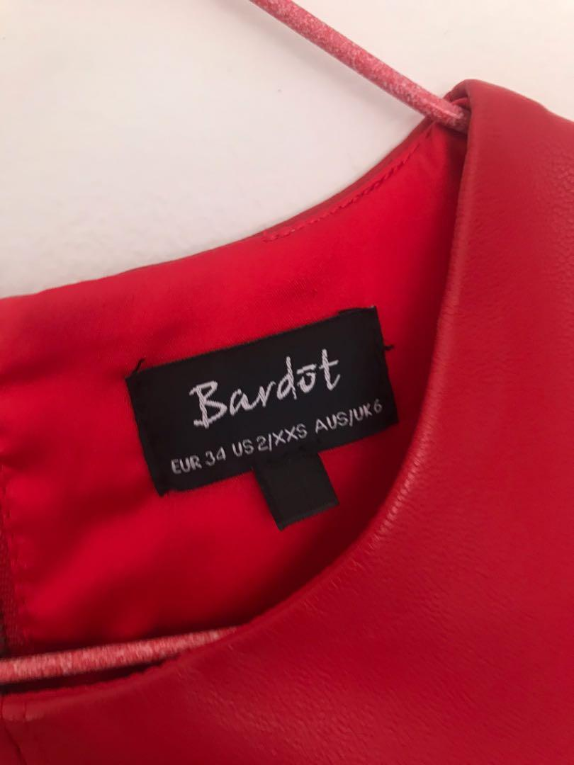 Bardot Dressy Top - Red Leather Style with Soft Inside