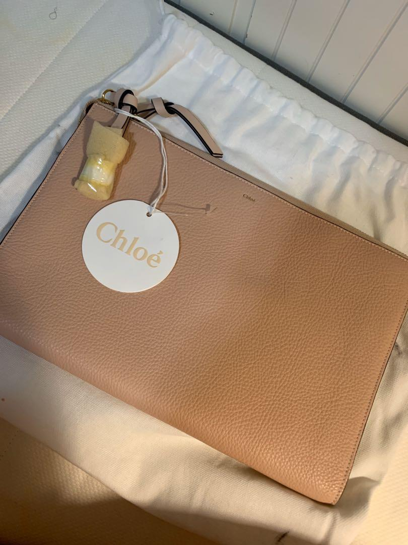 BNWT Chloe Alphabet Pouch/Clutch- light beige/pink