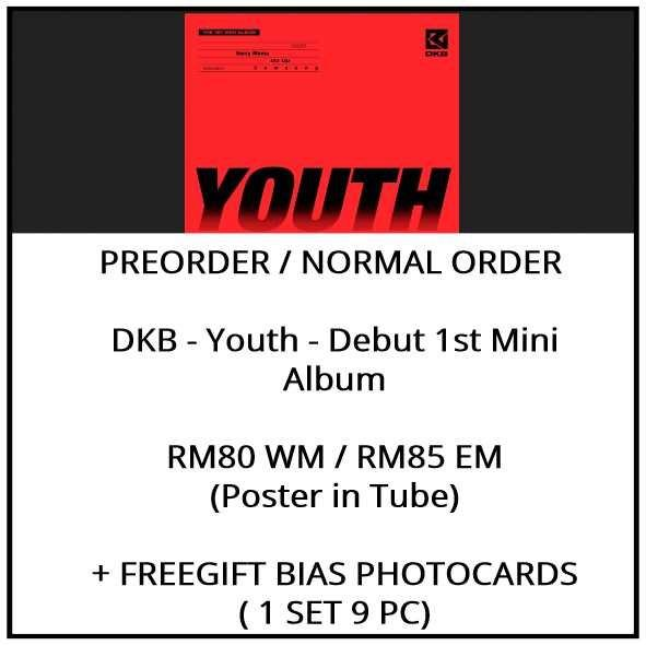 DKB - Youth - Debut 1st Mini Album - PREORDER/NORMAL ORDER/GROUP ORDER/ALBUM GO + FREE GIFT BIAS PHOTOCARDS (1 ALBUM GET 1 SET PC, 1 SET GET 9 PC)