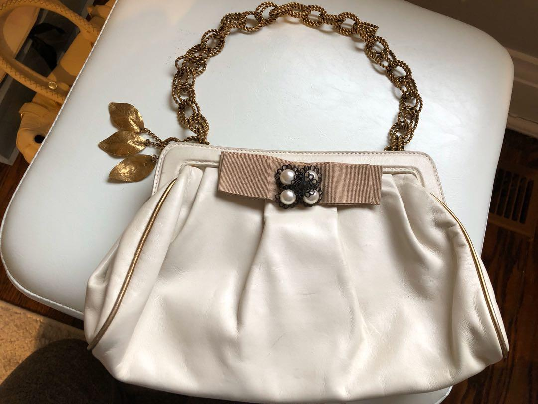 Dolce & Gabbana Ivory Clutch with Gold/Bronze Detail and Pearls