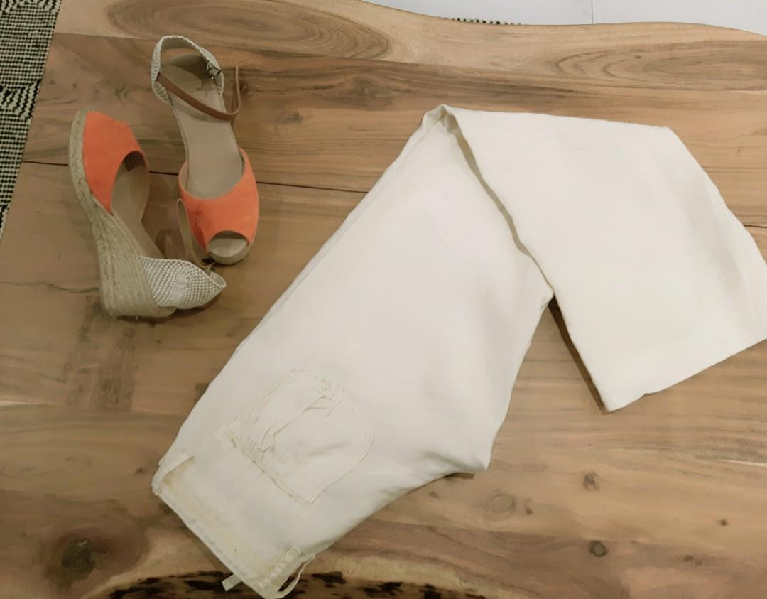 GUESS LINEN PANTS XS IN BEIGE LOW RISE BUTT LIFTING