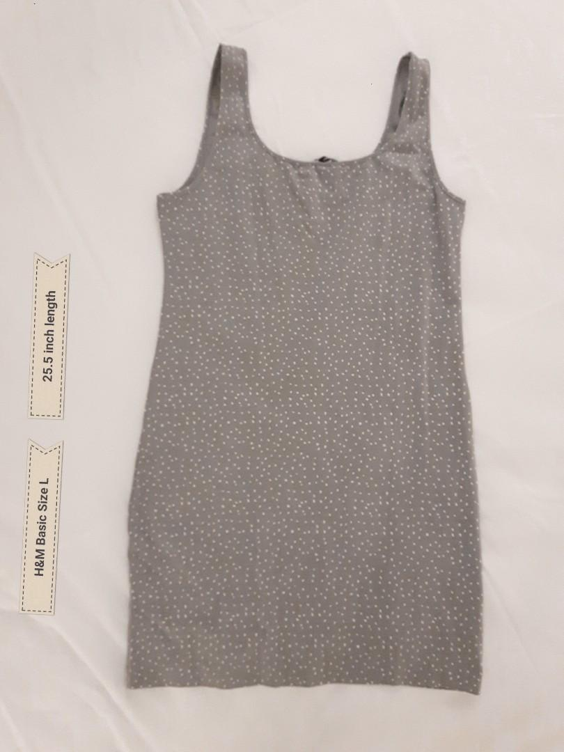 H&M BASIC DRESS BODYCON SIZE LARGE IN GREY AND WHITE