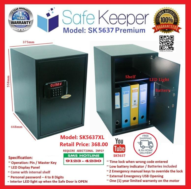 Home & Office Security Safe Box - Safe with Mechanical Override Keys, Digital Combination Lock, LED Low Battery Indicator, Interior LED Light