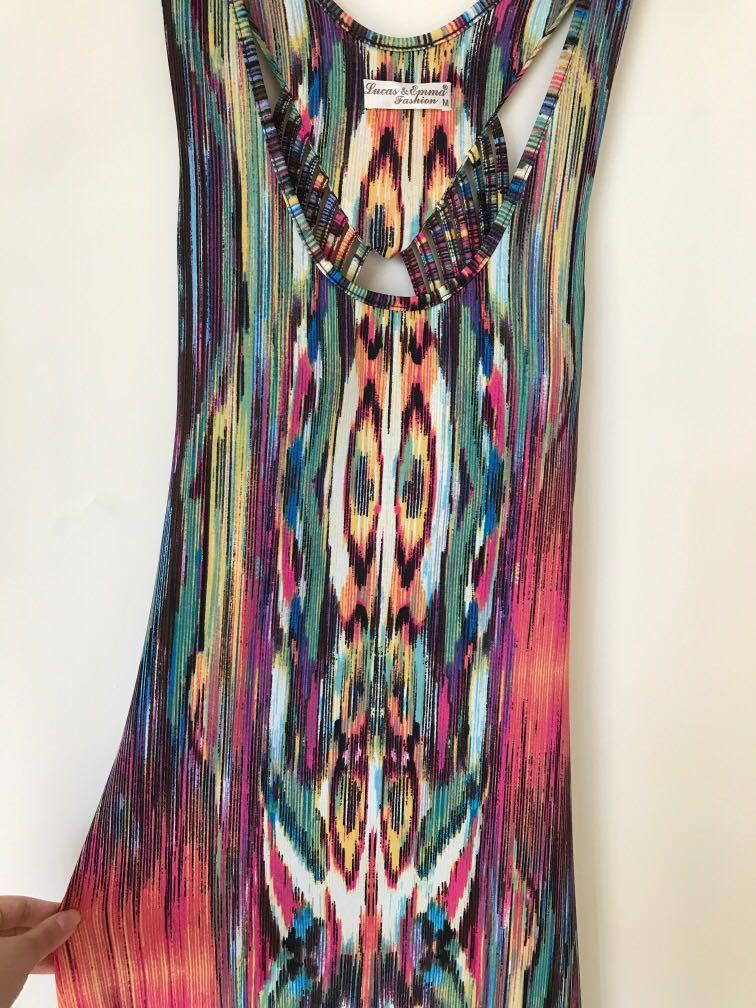 Multi coloured long maxi dress with cut out back detail