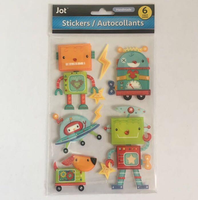 NEW 3D Handmade Stickers - Robots - Kids Scrapbooking Planners Crafts