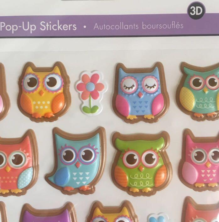 NEW 3D Pop-Up Photo Safe Stickers - Pastel Owls - Kids Scrapbooking Planners Crafts