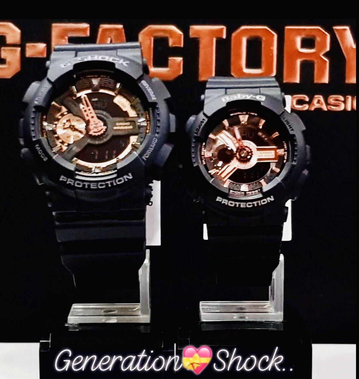 NEW🌟COUPLE💝SET : BABY-G🌟G-SHOCK UNISEX DIVER SPORTS WATCH : 100% ORIGINAL AUTHENTIC CASIO BABYG + GSHOCK : GA-110-RG-1ADR + BA-110-RG-1ADR (BLACK ROSE-GOLD)