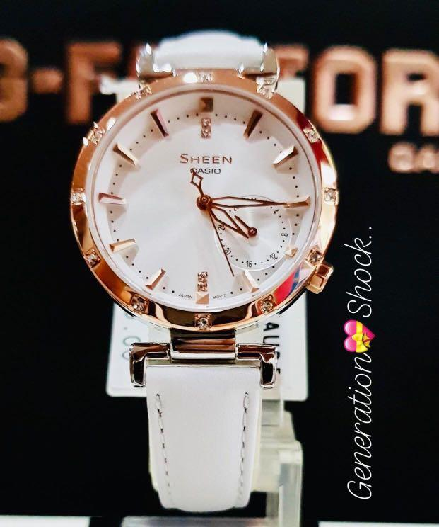 NEW🌟SHEEN GLAMOUR WATCH : 100% ORIGINAL AUTHENTIC CASIO SHEEN : by BABY-G SHOCK ( GSHOCK )  Company : Swarovski Crystal & Element : SHE-4051PGL-7A (WHITE DOVE ROSE-GOLD)