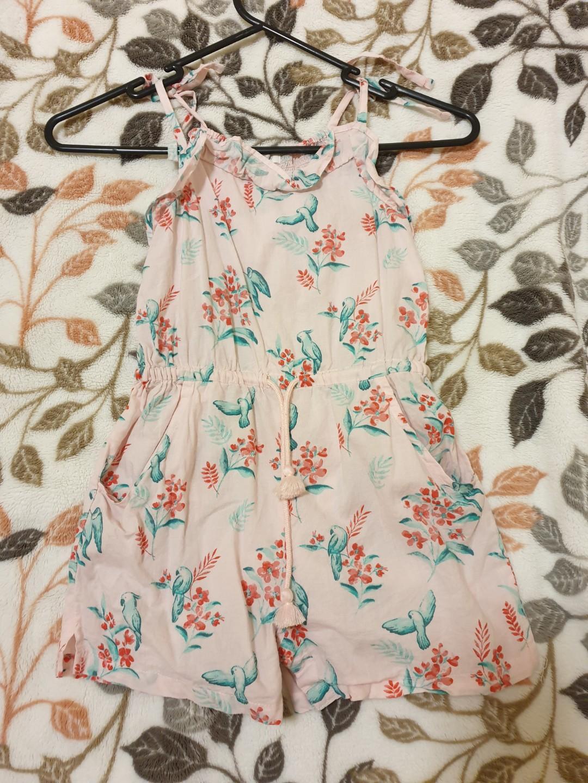 PREMIUM Purebaby 100% Organic Cotton Girls/toddlers/infants  Pink birds & floral jumpsuit/romper