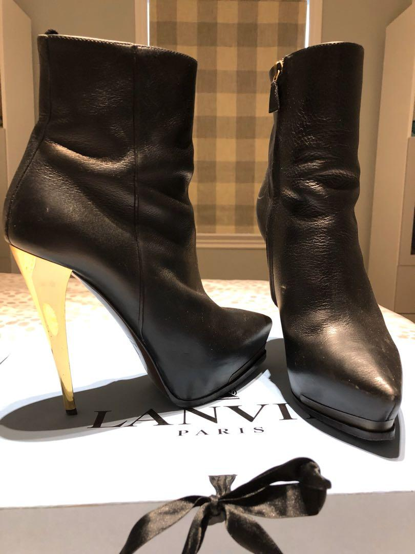 Stunning Lanvin Black Leather and Gold Heel Boots (US 8.5/EUR 38.5)