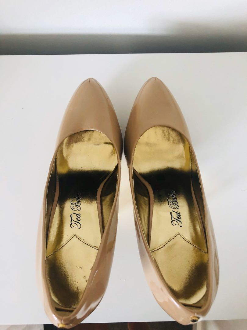 Ted Baker Nude Patent Leather Stiletto Heels - 8 - 39