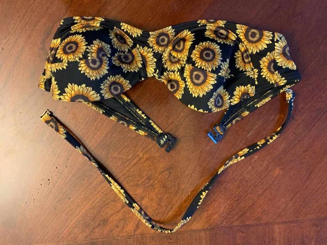 Urban outfitters strapless sunflower bikini top small