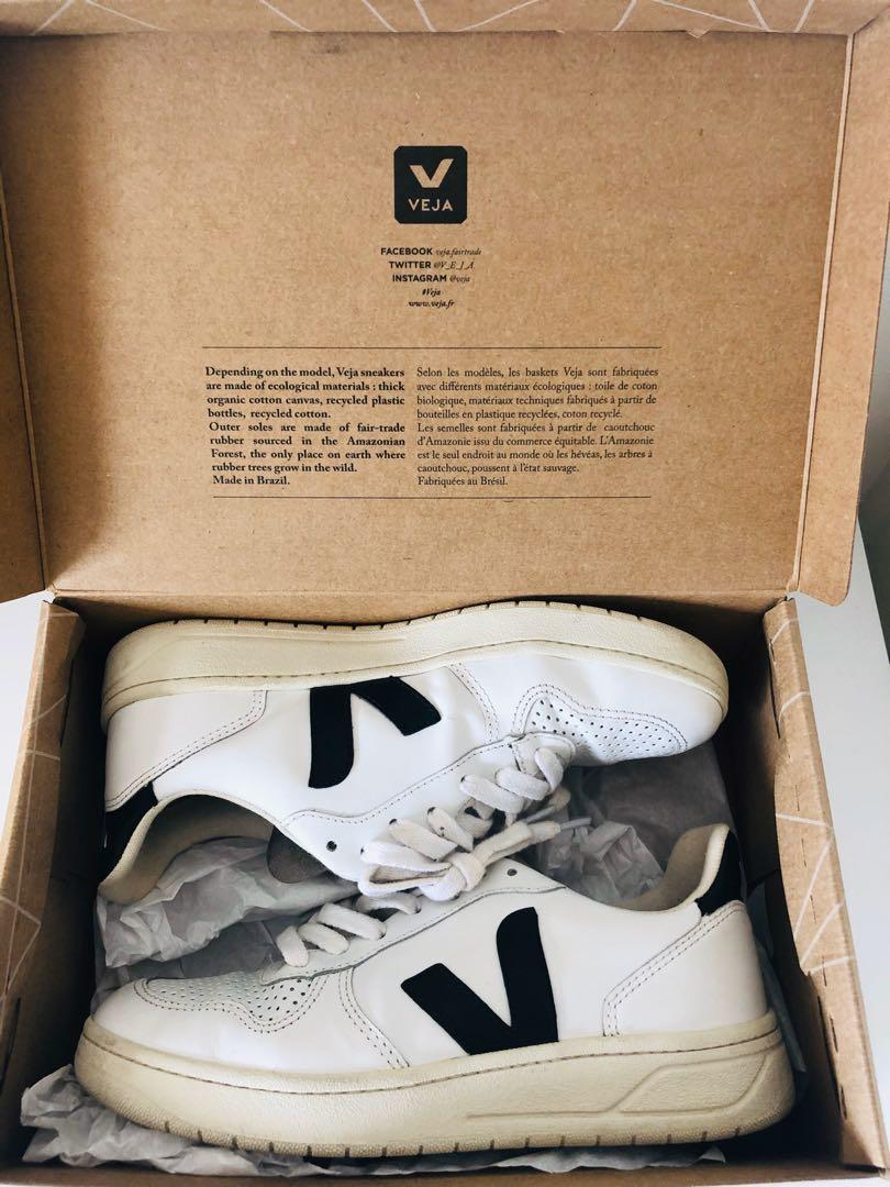 Veja V-10 White black leather sneakers shoes - 7 - 38