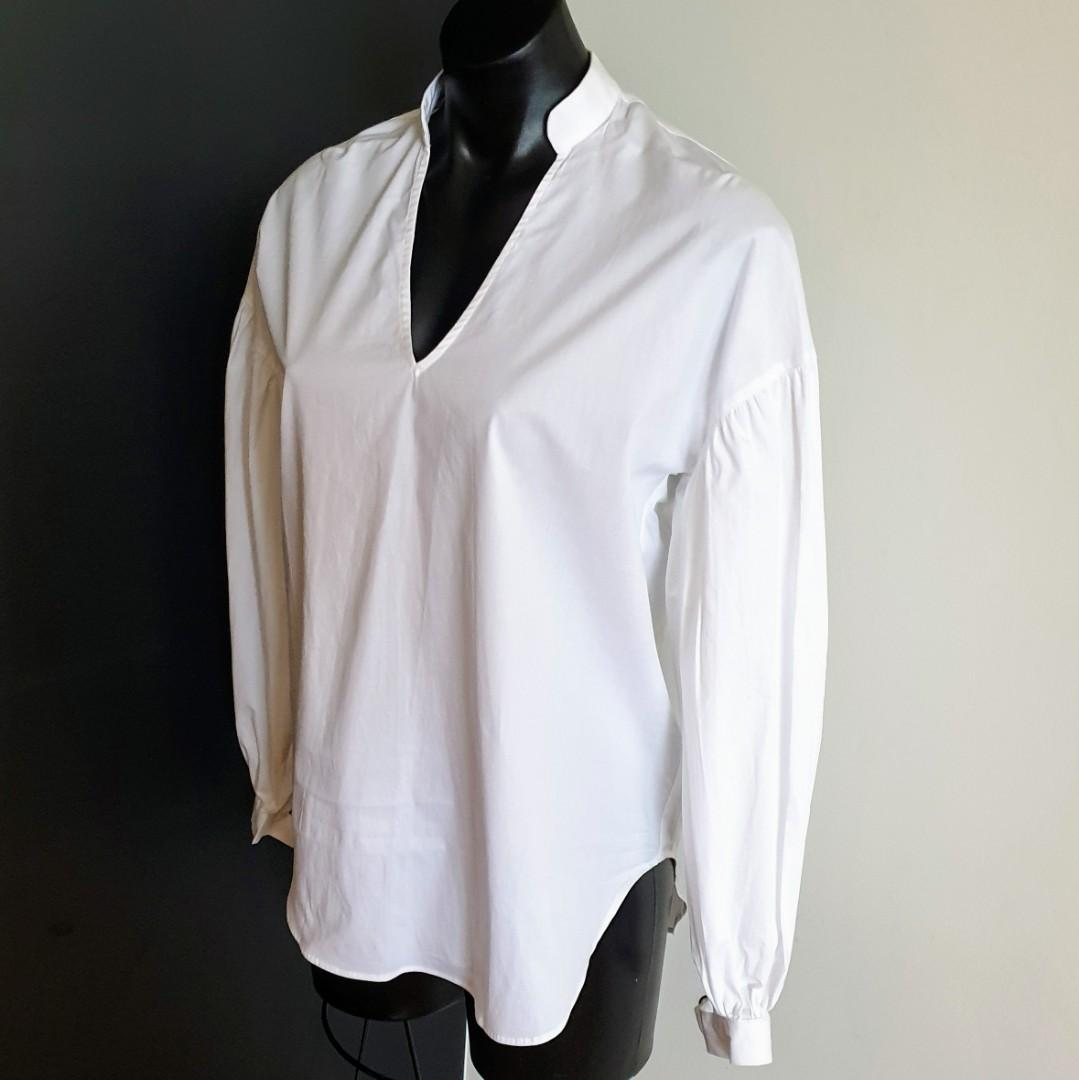 Women's size 8 'STUDIO W' Gorgeous white long sleeved cotton shirt - BNWT RRP$70