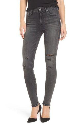 AGOLDE black distressed high waisted jeans