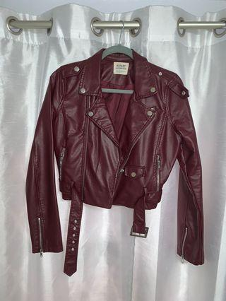 Red Faux Cropped Leather Jacket