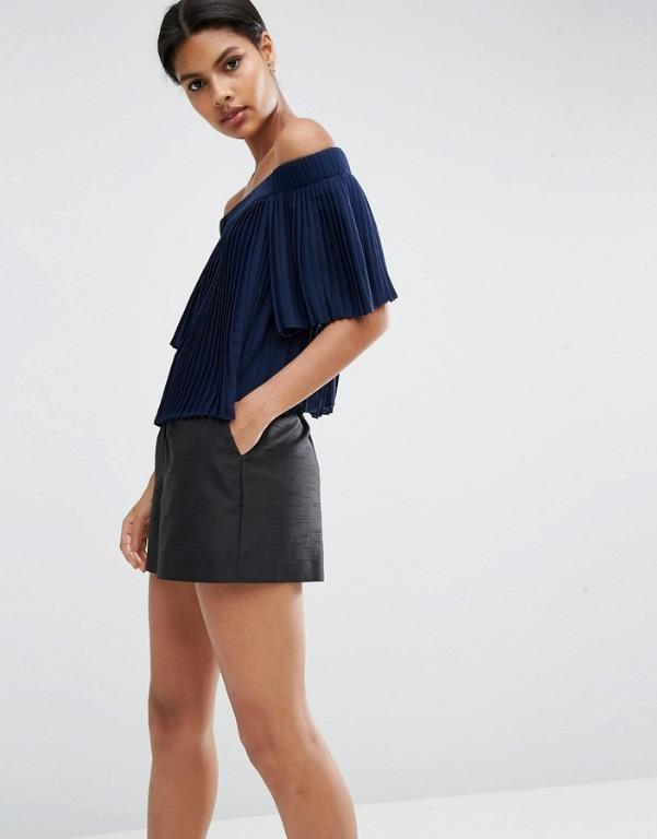 ASOS - Pleated Navy Off shoulder Top - UK 4 #swapau