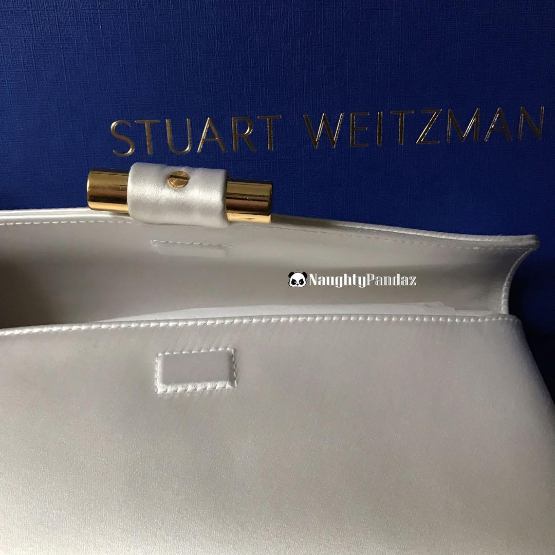 Brand New Stuart Weitzman Pearl White Pouch Clutch Bag with Dust Bag