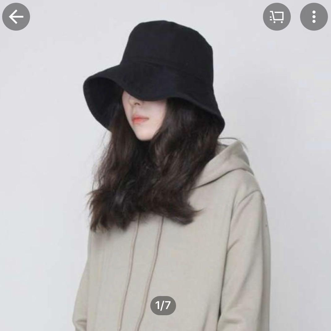 Korean Black Bucket Hat Women S Fashion Clothes Others On Carousell