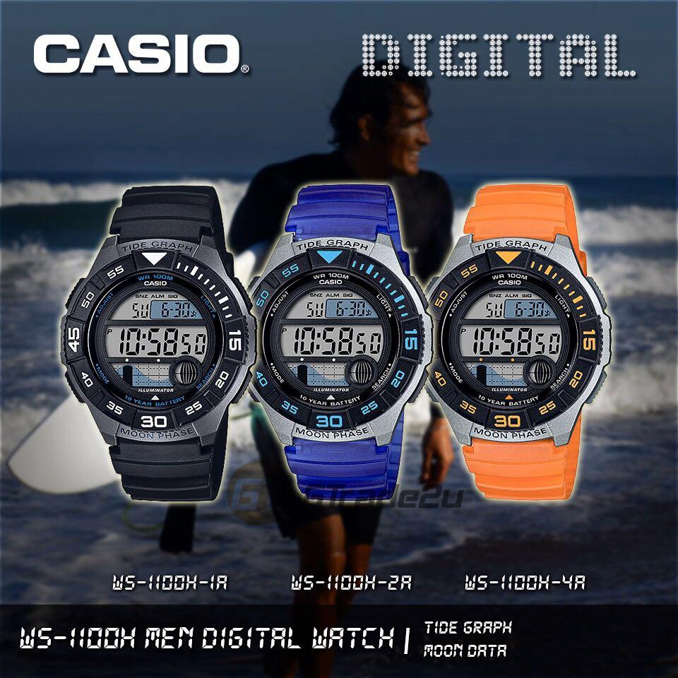 NEW🌟TOUGH CASIO UNISEX SPORTS WATCH : 100% ORIGINAL AUTHENTIC : By BABY-G-SHOCK ( GSHOCK ) COMPANY : WS-1100H-1AVUDF (BLACK-OCEAN)
