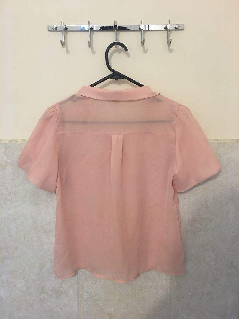 RRP $60 Korean Cropped Chiffon Blossom Blouse / ONE SIZE