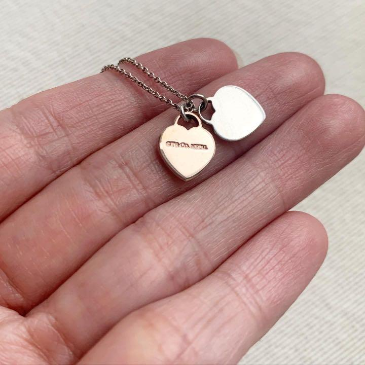 AUTHENTIC TIFFANY & CO Mini Double Heart Sterling Silver and Rubedo Pendant Necklace