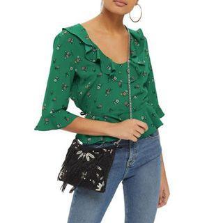 Topshop green floral blouse