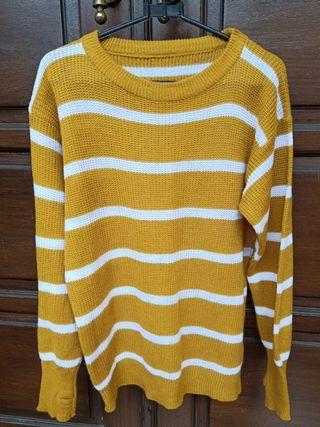Sweater Rajut (mustard-putih)