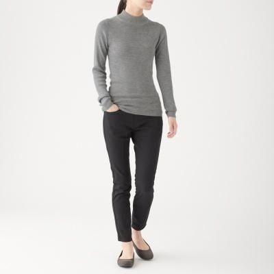 ㊣現貨快出㊣ MUJI無印良品 女不易刺癢羊毛螺紋短領針織衫 (灰)XL