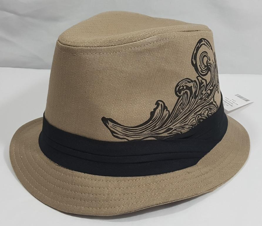 Beige/Tan Fedora Hat With Black Design & Black Ribbon (Sears Regular Price of $19.99)