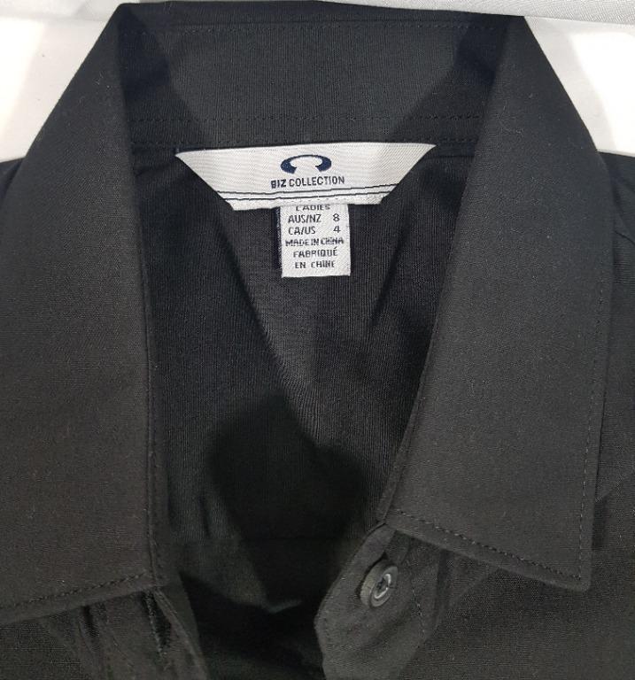 Biz Collection Ladies Black Uniform Waitress Retailer Shirt Size 4 (Small) Style: S306LL