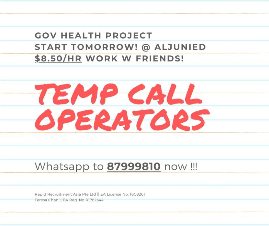(Health Project) - 20 x Call Operators, Start Tmr!