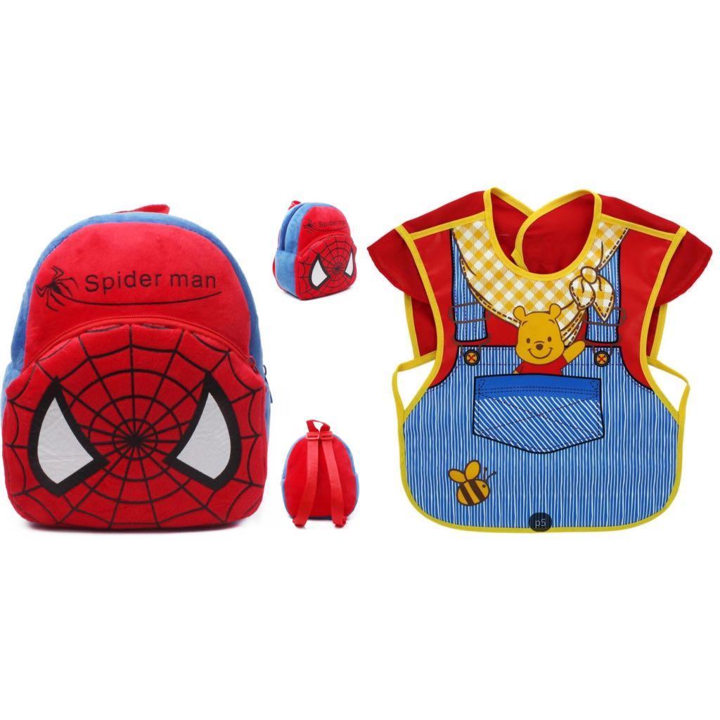 Kids Plush Bundle. BagPack & Bibs. MixNMatch Mickey Minnie Batman SpiderMan