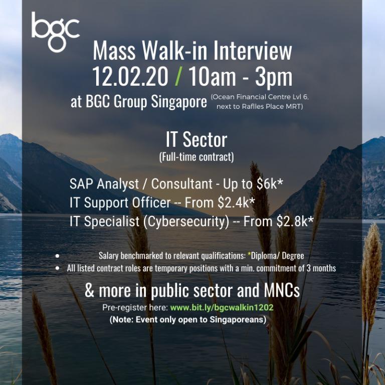 MASS INTERVIEWS FOR SINGAPOREANS (IT)(12.02.20)