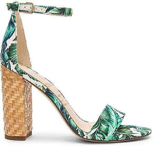 Sam Edelman 'Yaro' Palm Print Block-Heel Sandals (Size 8)