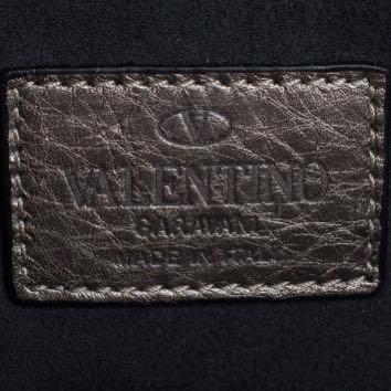 VALENTINO Metallic Beige Pebbled Leather My Rockstud Tote