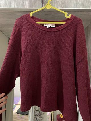 Pull n Bear Maroon Sweater